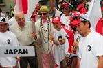 Team Japan,  ISA President Fernando Aguerre and Eduardo Arena. Credit: ISA / Michael Tweddle