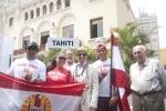 Team Tahiti, Eduardo Arena and ISA President Fernando Aguerre. Credit:ISA/ Rommel Gonzales
