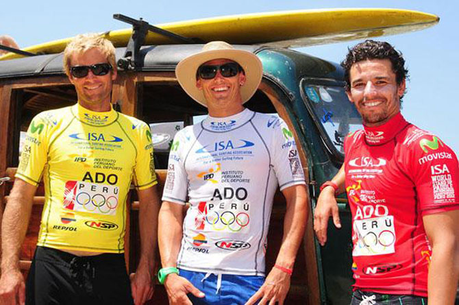 2012 ISA competitors from left Colin McPhillips (USA), Jamie Mitchell (AUS) and Antoine Delpero (FRA) have a combined 16 World Titles. The lycras featured the Olympic Rings, as the Peru Olympic Committee sponsored the event. Photo: ISA/Tweddle