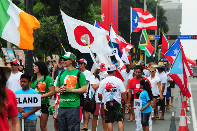 23 nations paraded through the streets of the beautiful surf town Miraflores in Lima, Peru. Photo: ISA/Tweddle