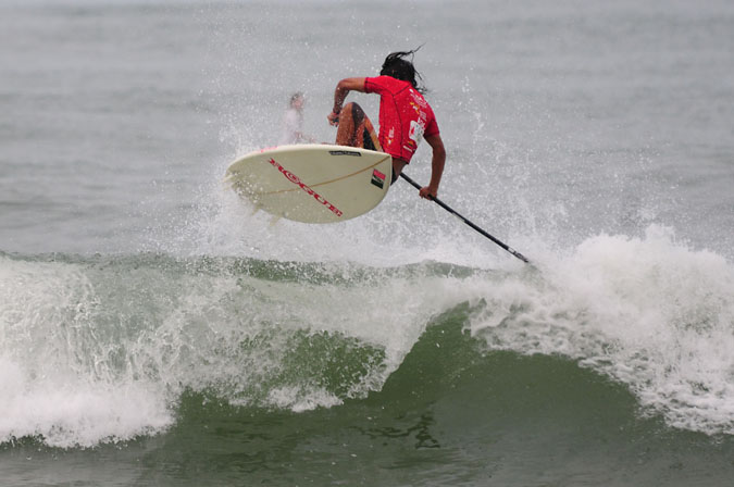 Mexico's Fernando Stalla, who will be back to compete this year, boosts during the inaugural World SUP and Paddleboard Championship last year in Peru. Photo: ISA/Tweddle