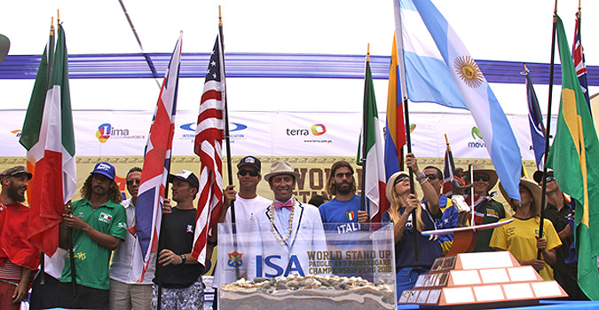 ISA President Fernando Aguerre with the Sands of the World during the Opening Ceremony of the ISA's inaugural World SUP and Paddleboard Championship in 2012.