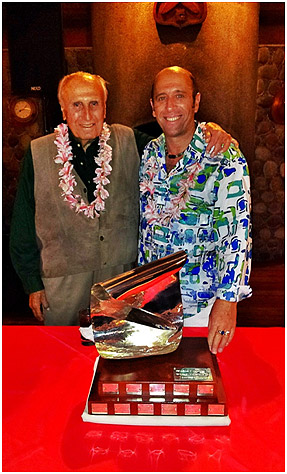 ISA Founder Eduardo Arena with current ISA President Fernando Aguerre and the Eduardo Arena Perpetual Trophy