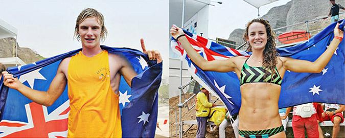 Men's and Women's Technical Race Gold Medalists, Australia's Lincoln Dews (left) and Jordan Mercer (right). Photo: ISA/Romero