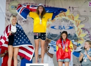 Women's Medalists SUP Technical Race. Credit: ISA/Michael Tweddle
