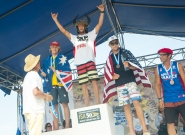 Men's SUP Technical Race Medalists. Credit: ISA/Rommel Gonzales