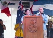 Minister of Tourism Mayra Salinas and ISA Vice President Alan Atkins. Credit: ISA/Michael Tweddle