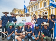 Team Nicaragua at the Parade Of Nations. Credit: ISA/Rommel Gonzales