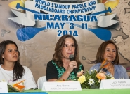 Ana Urroz from Team Nicaragua, Local Organizer Lucy Valenti and Mayor Of Granada Julia Mena. Credit: ISA/Rommel Gonzales