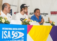 Mayor of Diriamba Fernando Baltodano, Casper Steinfath from Denmark and Team Manager of Ncaragua Ronaldo Urroz. Credit: ISA/Rommel Gonzales
