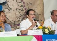 Mayor Of Granada Julia Mena, Press Conference,  Executive of INTUR Mayra Salinas and Mayor of Diriamba Fernando Baltodano. Credit: ISA/Rommel Gonzales