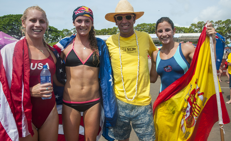 ISA President Fernando Aguerre with the three Paddleboard Medalists. Photo: ISA/Rommel Gonzales