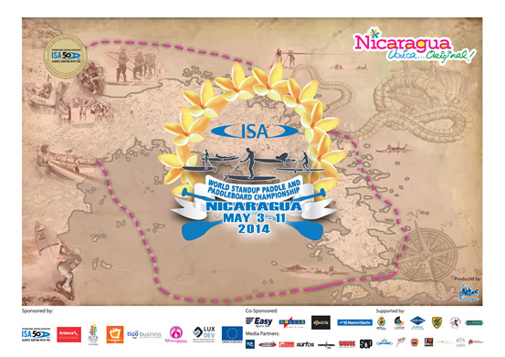 "The Official Poster of the 2014 ISA World SUP and Paddleboard Championship. The dotted line represents the 20km Long Distance Course through the ""Isletas de Granada,"" a chain of 365 islands on Lake Nicaragua."