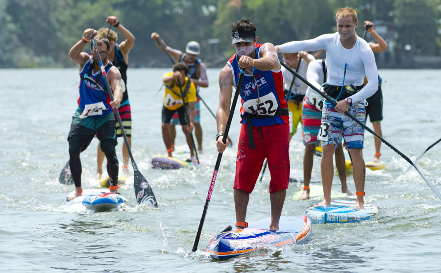 Titouan Puyo from France is the new Men's World SUP Long Distance Champion after defeating a stacked field of competitors on an epic 18km race on Lake Nicaragua. Photo:ISA/Michael Tweddle