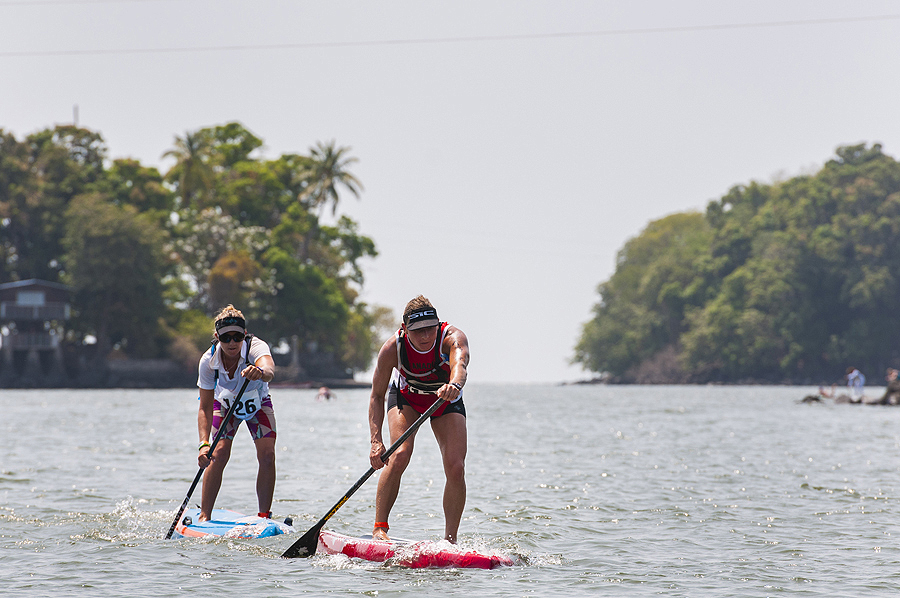 Canada's Lina Augaitis is the new ISA Women's World SUP Long Distance Champion, after finishing the 18km course in 1:58:24 to win the Gold Medal. Photo: ISA/Rommel Gonzales