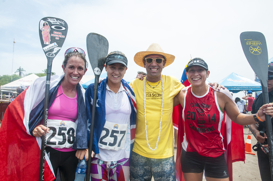 ISA President Fernando Aguerre with the Paddleboard Medalists. Photo: ISA/Rommel Gonzales