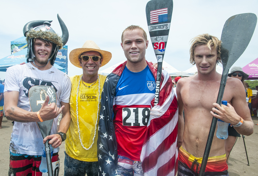 ISA President Fernando Aguerre with the SUP Medalists. Photo: ISA/Rommel Gonzales