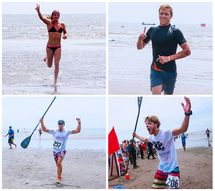 Today's four Gold Medalists put on incredible performances: (clockwise from top left) Jordan Mercer (AUS), Rhys Burrows (AUS), Shakira Westdorp (AUS) and Casper Steinfath (DEN). Photo: ISA/Rommel Gonzales