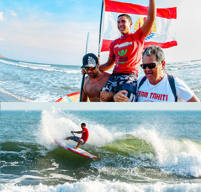 Continuing his stellar performances from the first two days of competition, Tahiti's Poenaiki Raioha is the new ISA Men's World SUP Surfing Champion. The 17 year-old earned two impressive scores of 8.93 and 8.57 for a total heat score of 17.50, the highest of the entire event. Photo: ISA/Tweddle and Gonzales